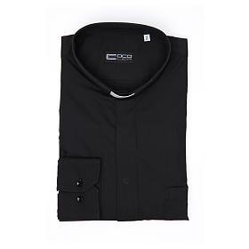 Pastor Long Sleeve Shirt easy-iron mixed herringbone cotton Black s4