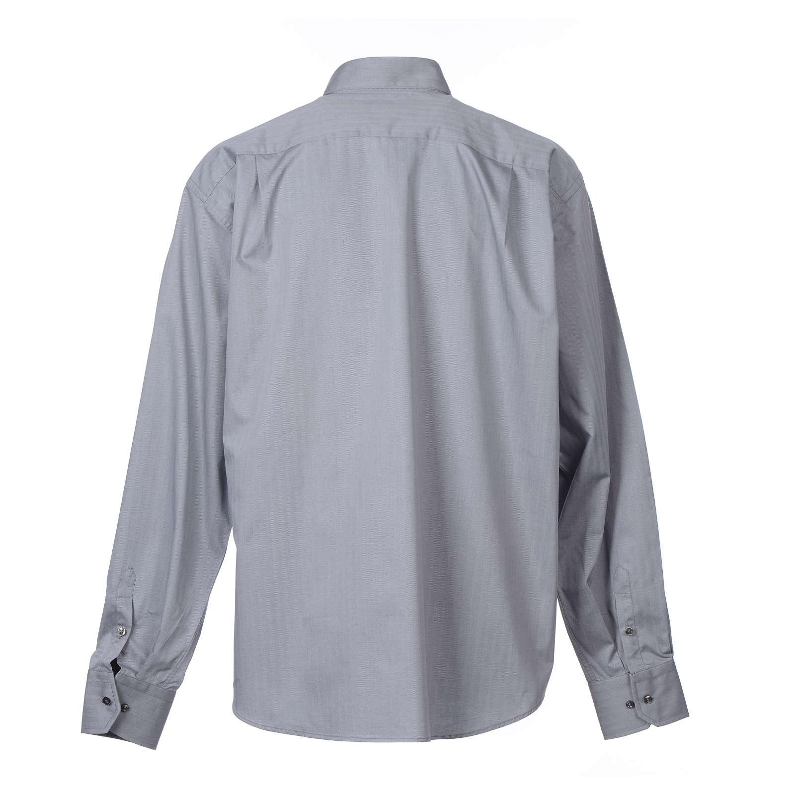 Collarhemd mit Langarm aus leicht zu bügelnden Baumwoll-Polyester-Mischgewebe mit Fischgrätenmuster in der Farbe Grau 4