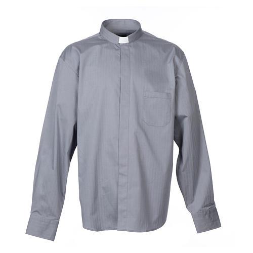 Collarhemd mit Langarm aus leicht zu bügelnden Baumwoll-Polyester-Mischgewebe mit Fischgrätenmuster in der Farbe Grau 1