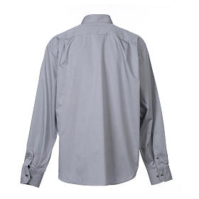 Grey clerical shirt Long sleeves easy-iron mixed herringbone cotton s2