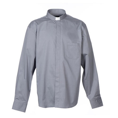Grey clerical shirt Long sleeves easy-iron mixed herringbone cotton 1