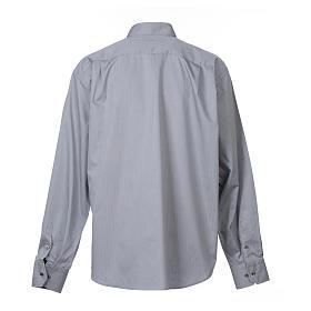 Camisa Clergy Manga Larga Planchado Facil, Mixto Algodón Espigado Gris s2