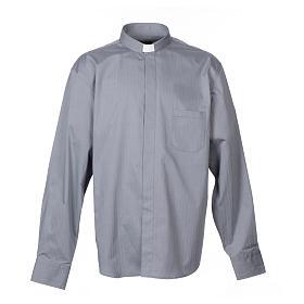 Camisas de Sacerdote: Camisa clergy M/L passo fácil espinha misto algodão cinzento