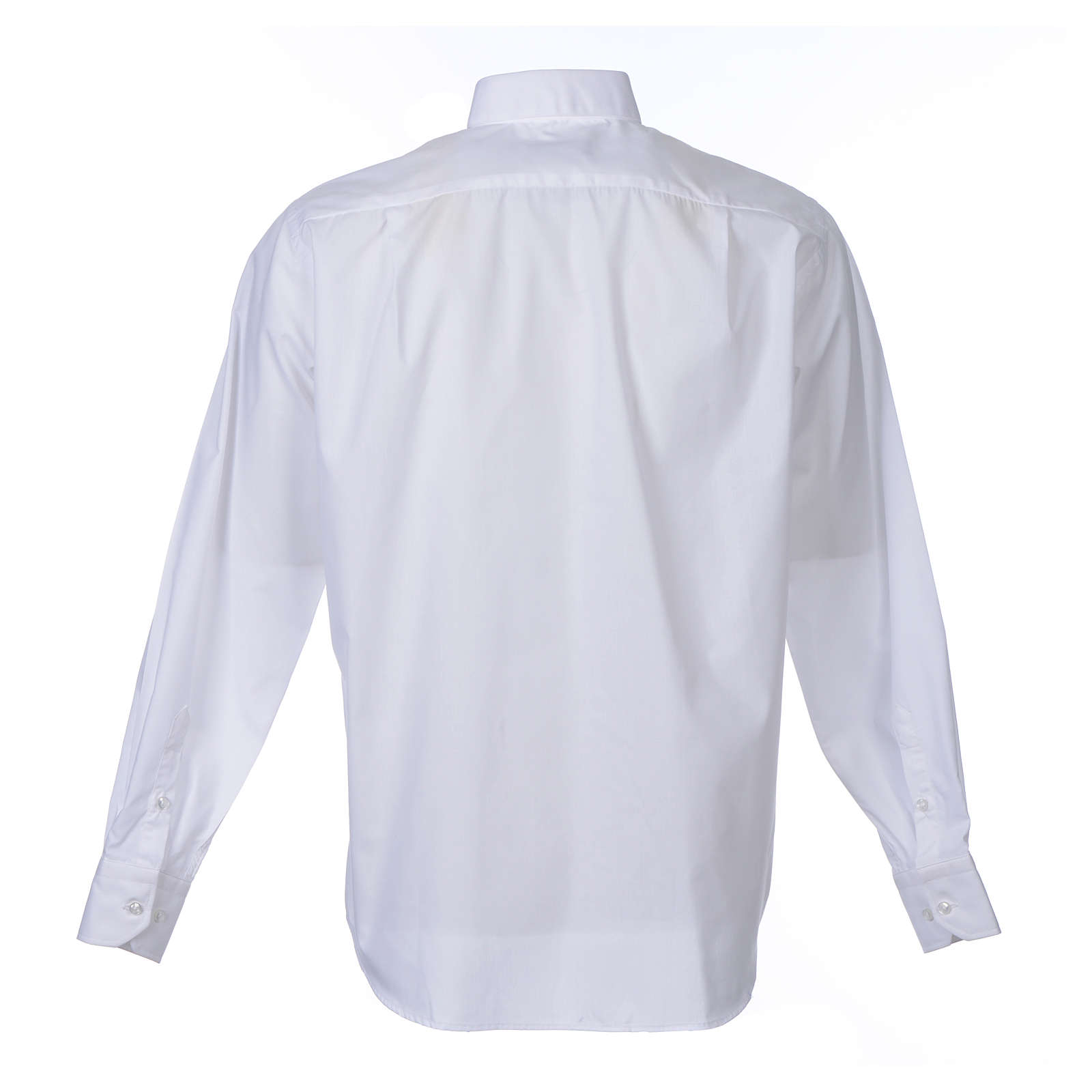 Clergy shirt long sleeves solid colour mixed cotton White 4