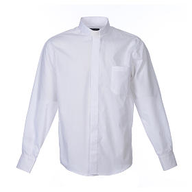Clergy shirt long sleeves solid colour mixed cotton White s1