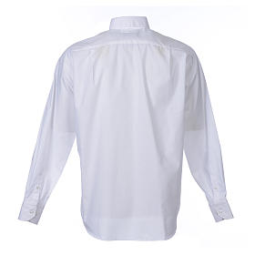 Clergy shirt long sleeves solid colour mixed cotton White s2