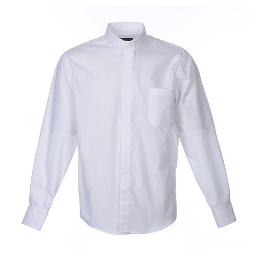 Clergy shirt long sleeves solid colour mixed cotton White 1
