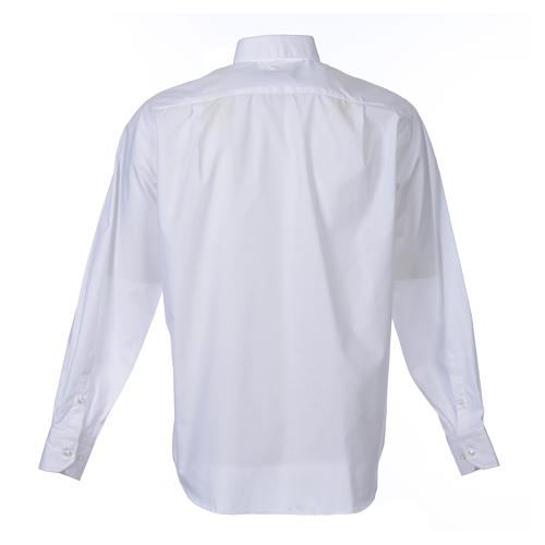 Clergy shirt long sleeves solid colour mixed cotton White 2