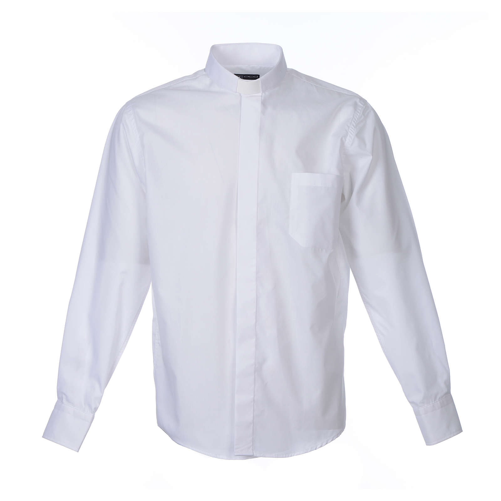 Camicia clergy M. Lunga tinta unita Misto cotone Bianco 4