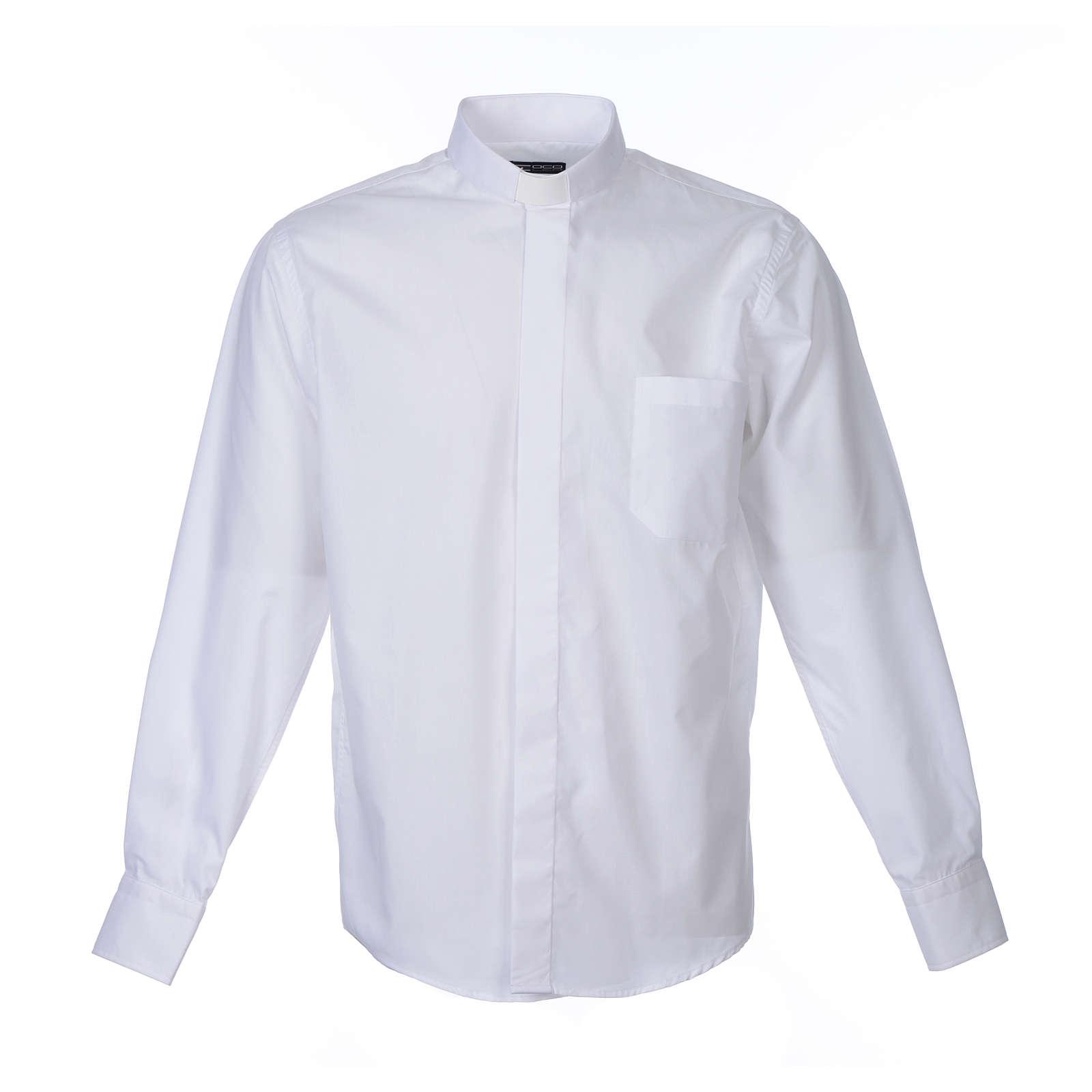 Koszula kapłańska długi rękaw, bawełna mieszana biała 4
