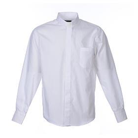 Koszula kapłańska długi rękaw, bawełna mieszana biała s1