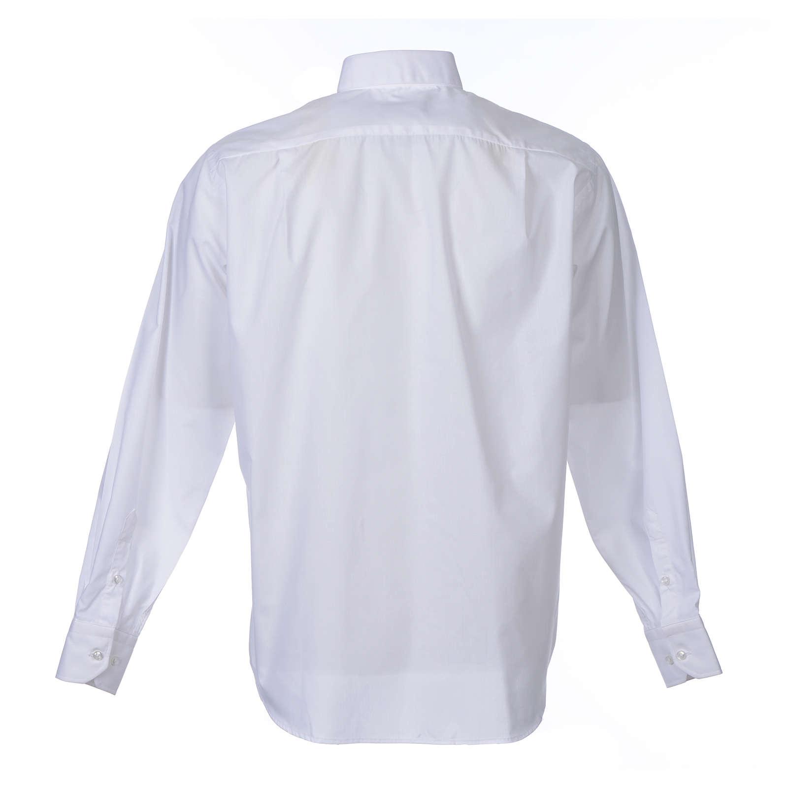 Camisa clergy M/L uma cor misto algodão branco 4