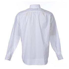 Camisa clergy M/L uma cor misto algodão branco s2
