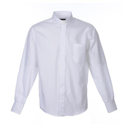 Camisa clergy M/L uma cor misto algodão branco 1
