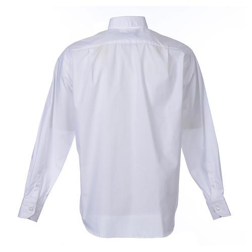 Camisa clergy M/L uma cor misto algodão branco 2