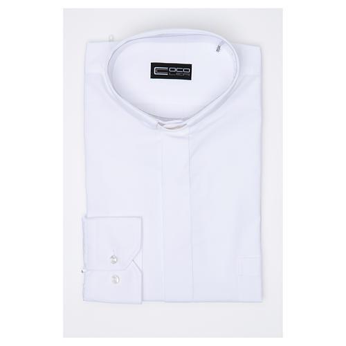 Camisa clergy M/L uma cor misto algodão branco 3