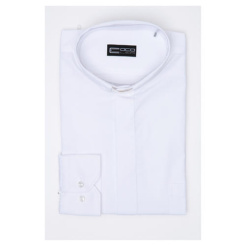 Clergy shirt long sleeves solid colour mixed cotton White 3
