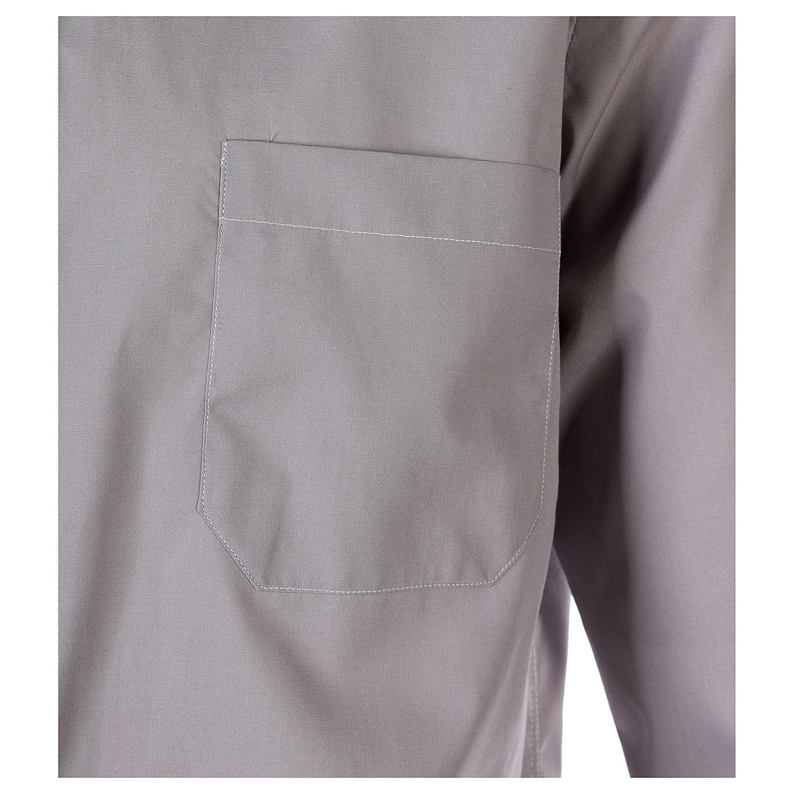 Collarhemd mit Langarm aus Baumwoll-Polyester-Mischgewebe in der Farbe Hellgrau 4