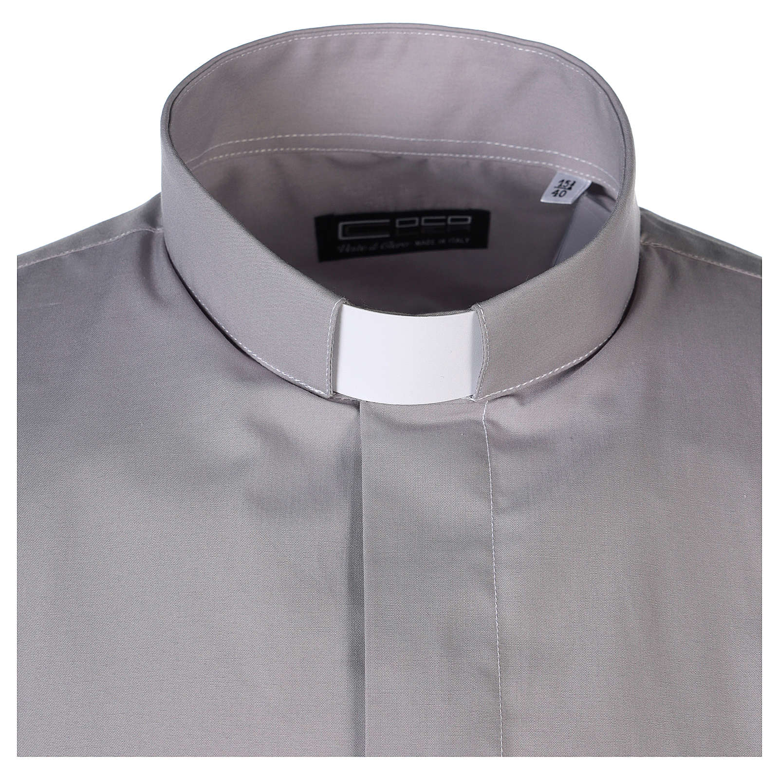 Clergy shirt long sleeves solid colour mixed cotton Light Grey 4