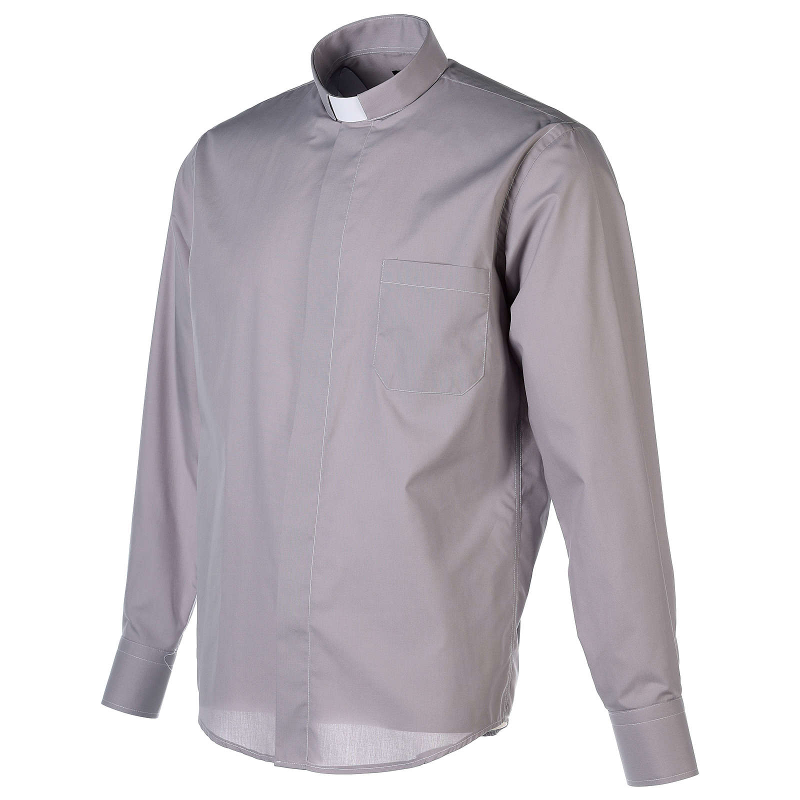 Camisa Clergy Manga Larga Color Uniforme Mixto Algodón Gris claro 4