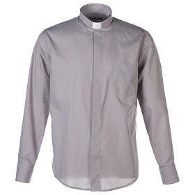 Camisa Clergy Manga Larga Color Uniforme Mixto Algodón Gris claro s1