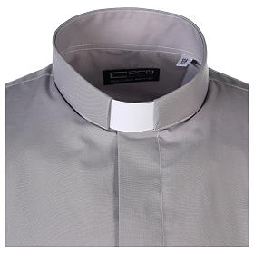 Camisa Clergy Manga Larga Color Uniforme Mixto Algodón Gris claro s4