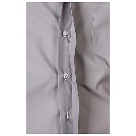 Camisa Clergy Manga Larga Color Uniforme Mixto Algodón Gris claro s5