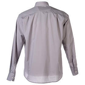 Camisa Clergy Manga Larga Color Uniforme Mixto Algodón Gris claro s7