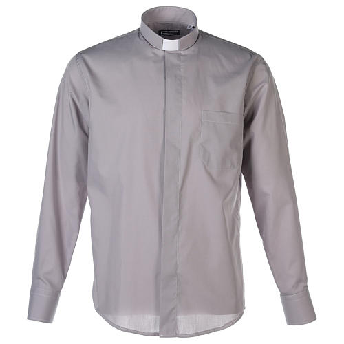Camisa Clergy Manga Larga Color Uniforme Mixto Algodón Gris claro 1