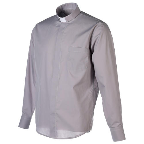 Camisa Clergy Manga Larga Color Uniforme Mixto Algodón Gris claro 3