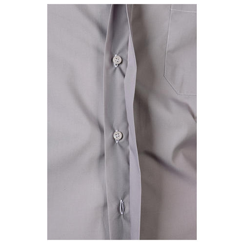 Camisa Clergy Manga Larga Color Uniforme Mixto Algodón Gris claro 5