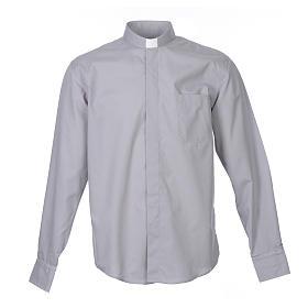 Camicia clergy M. Lunga tinta unita Misto cotone Grigio chiaro s1