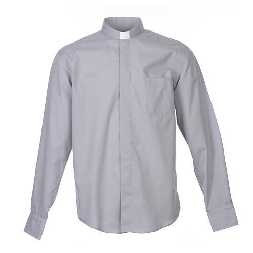 Camicia clergy M. Lunga tinta unita Misto cotone Grigio chiaro 1