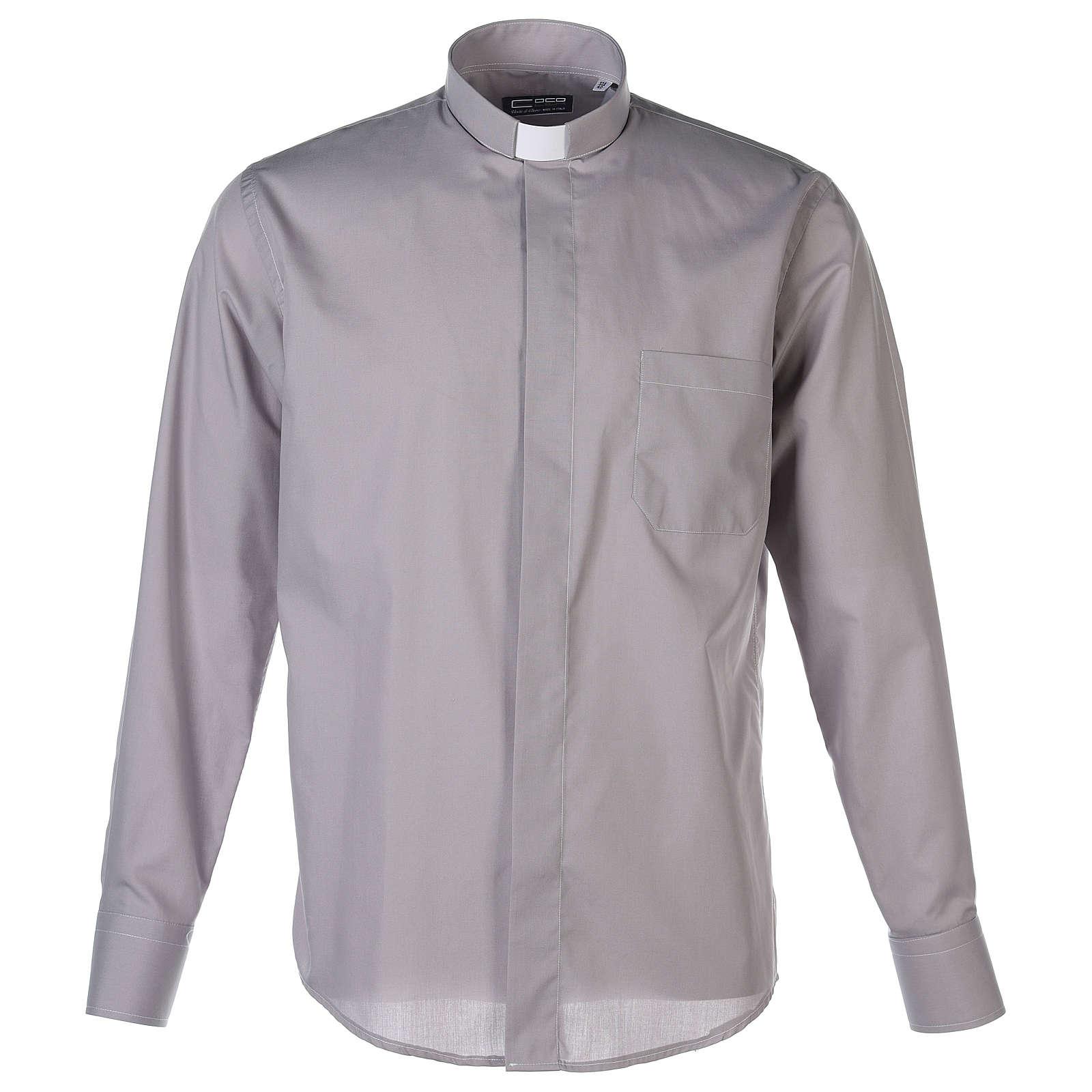 Camisa clergy M/L uma cor misto algodão cinzento claro 4