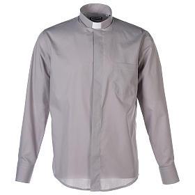 Camisas de Sacerdote: Camisa clergy M/L uma cor misto algodão cinzento claro