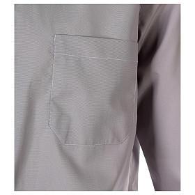 Camisa clergy M/L uma cor misto algodão cinzento claro s2