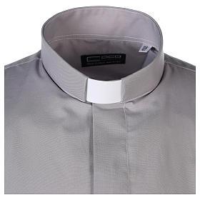 Camisa clergy M/L uma cor misto algodão cinzento claro s4