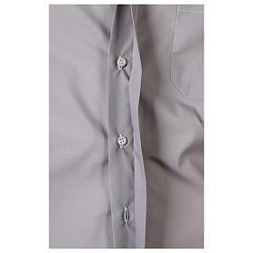 Camisa clergy M/L uma cor misto algodão cinzento claro s5