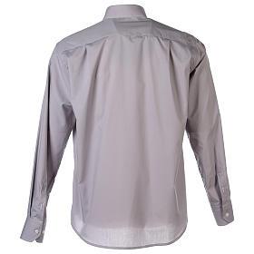 Camisa clergy M/L uma cor misto algodão cinzento claro s7