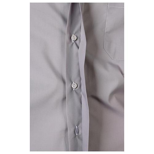 Camisa clergy M/L uma cor misto algodão cinzento claro 5