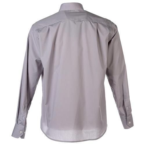 Camisa clergy M/L uma cor misto algodão cinzento claro 7