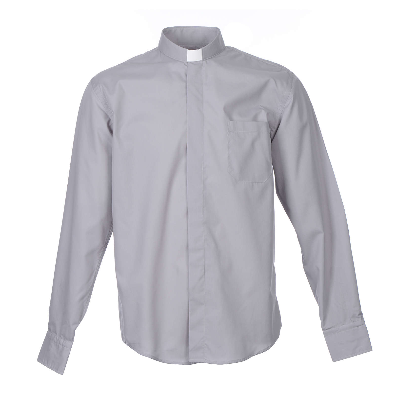 Tab Collar Light Grey Shirt long sleeve solid color mixed cotton 4