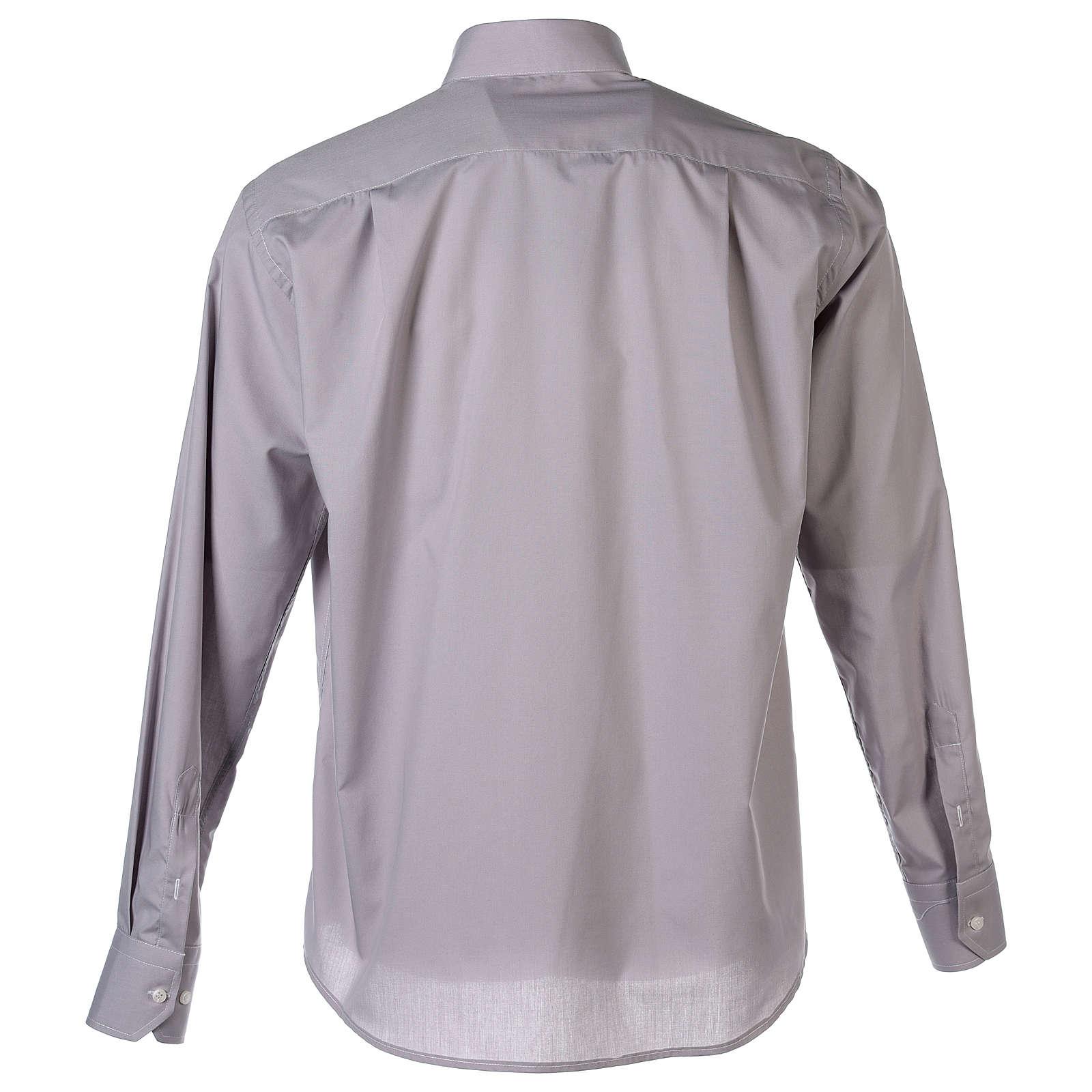 Tab Collar Light Grey Shirt long sleeve solid color mixed cotton 4