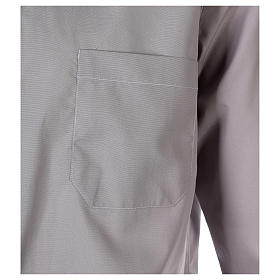 Tab Collar Light Grey Shirt long sleeve solid color mixed cotton s2