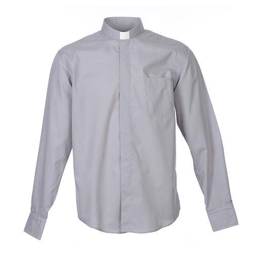 Tab Collar Light Grey Shirt long sleeve solid color mixed cotton 1