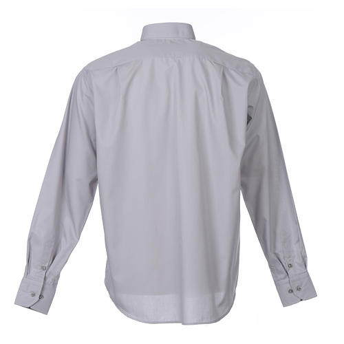 Tab Collar Light Grey Shirt long sleeve solid color mixed cotton 2