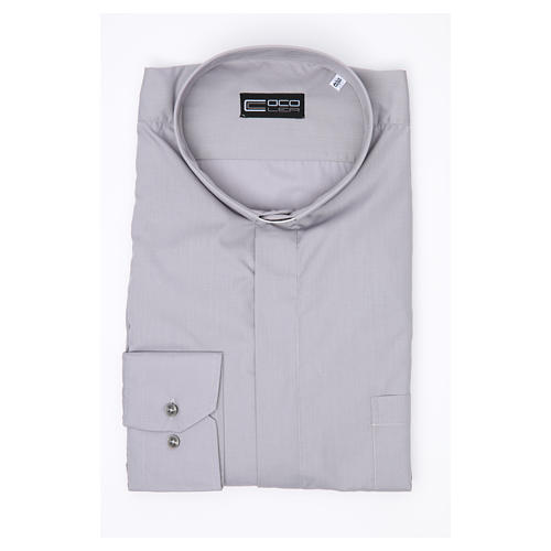 Tab Collar Light Grey Shirt long sleeve solid color mixed cotton 3