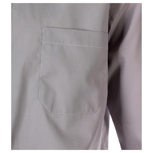 Tab Collar Light Grey Shirt long sleeve solid color mixed cotton 2
