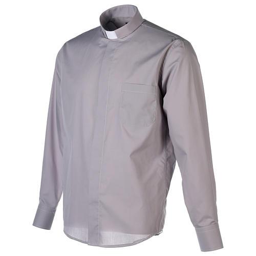 Tab Collar Light Grey Shirt long sleeve solid color mixed cotton 3