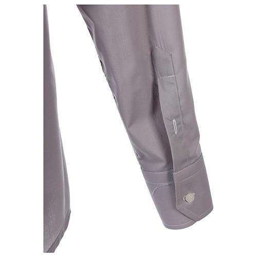 Tab Collar Light Grey Shirt long sleeve solid color mixed cotton 6